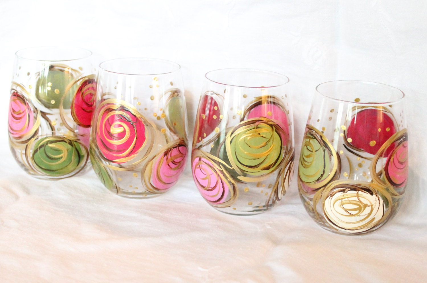 Stemless wine glasses hand painted pink and green swirl design for Painted stemless wine glasses