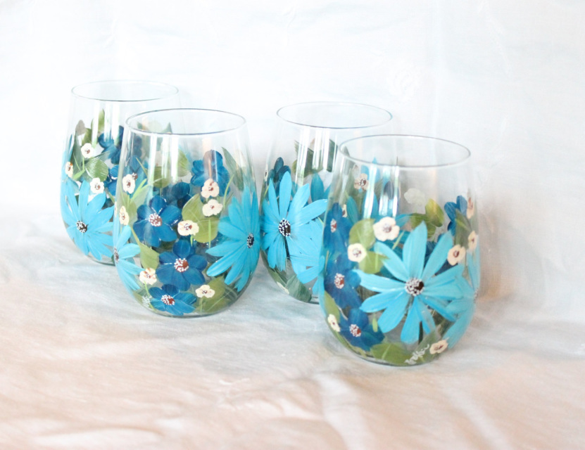 Stemless hand painted wine glasses blue floral design for Painted stemless wine glasses