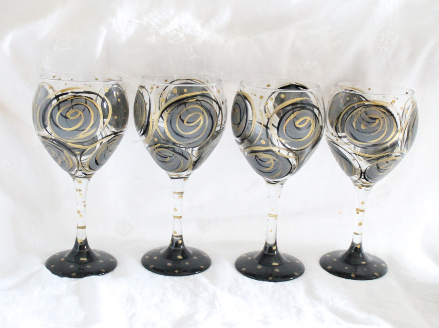 Black And Gold Painted Wine Glasses