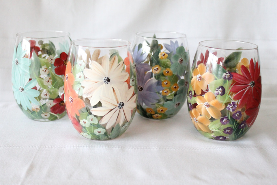 Easy To Paint Stemless Wine Glass